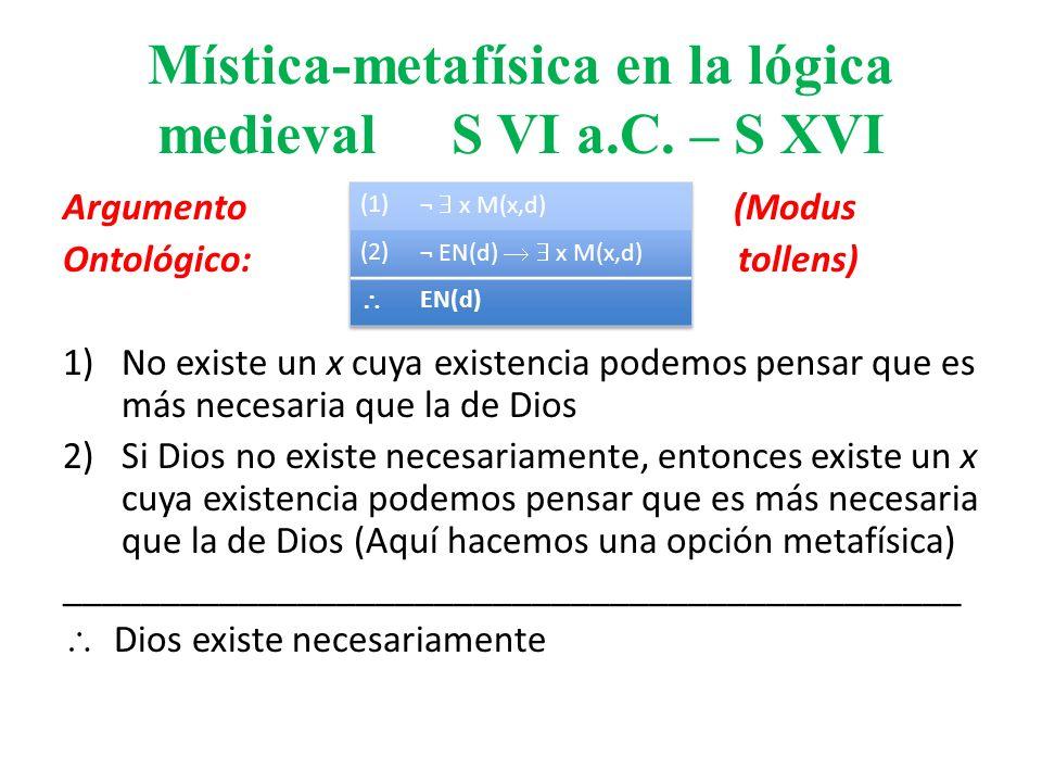 Mística-metafísica en la lógica medieval S VI a.C. – S XVI