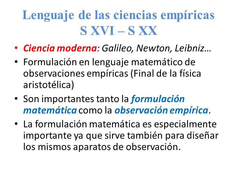 Lenguaje de las ciencias empíricas S XVI – S XX