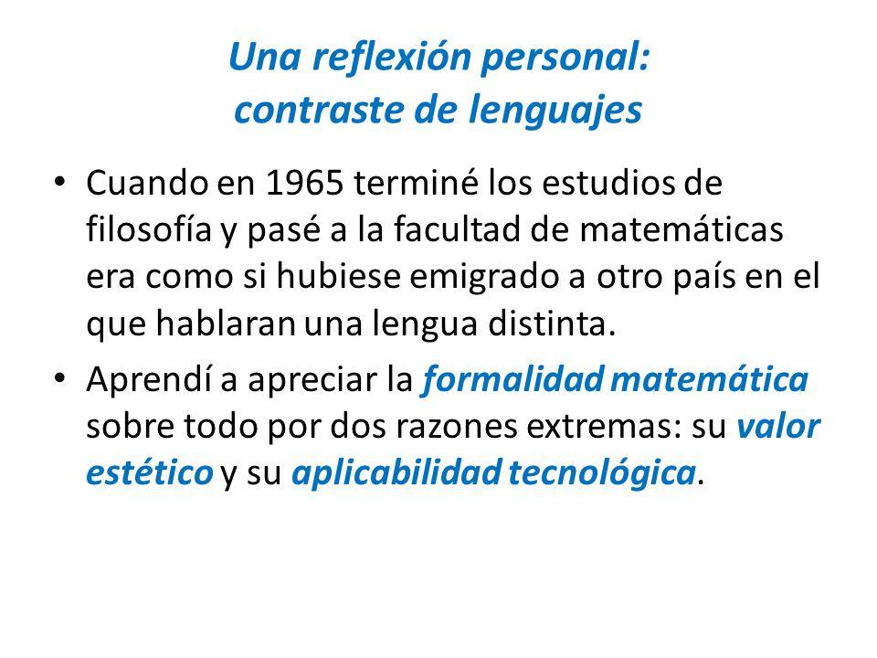 Una reflexión personal: contraste de lenguajes
