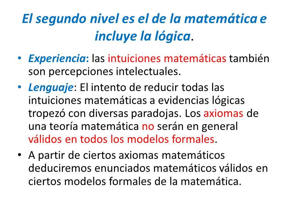 El segundo nivel es el de la matemática e incluye la lógica.