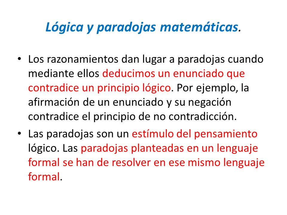 Lógica y paradojas matemáticas.