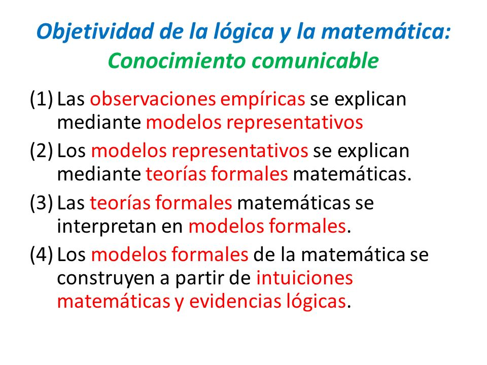 Objetividad de la lógica y la matemática: Conocimiento comunicable