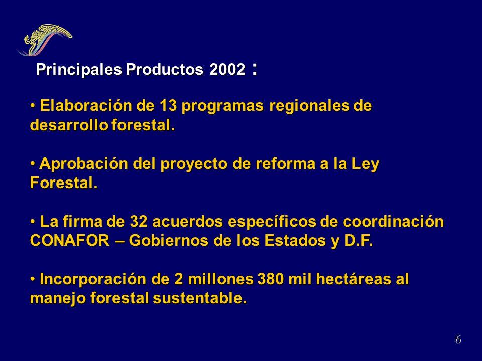 Principales Productos 2002 :