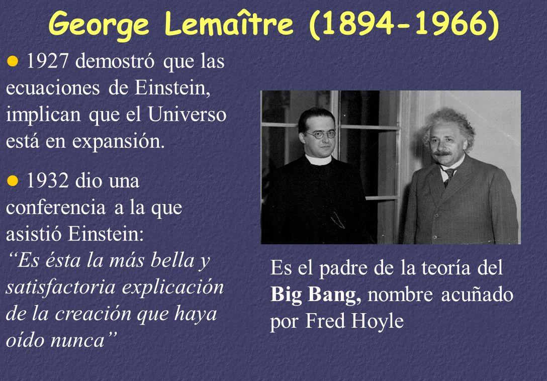 George Lemaître (1894-1966) 1927 demostró que las ecuaciones de Einstein, implican que el Universo está en expansión.