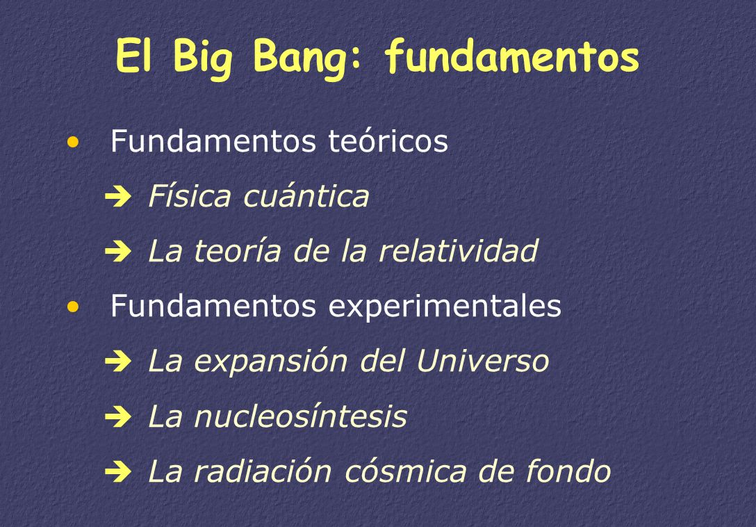 El Big Bang: fundamentos