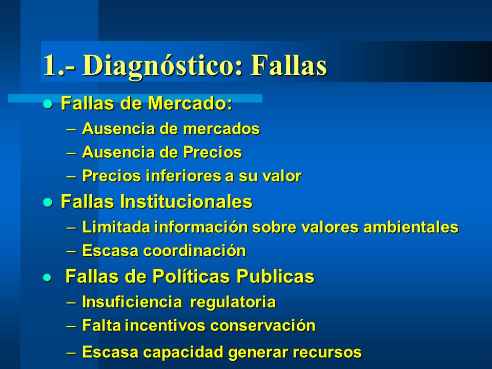 1.- Diagnóstico: Fallas Fallas de Mercado: Fallas Institucionales