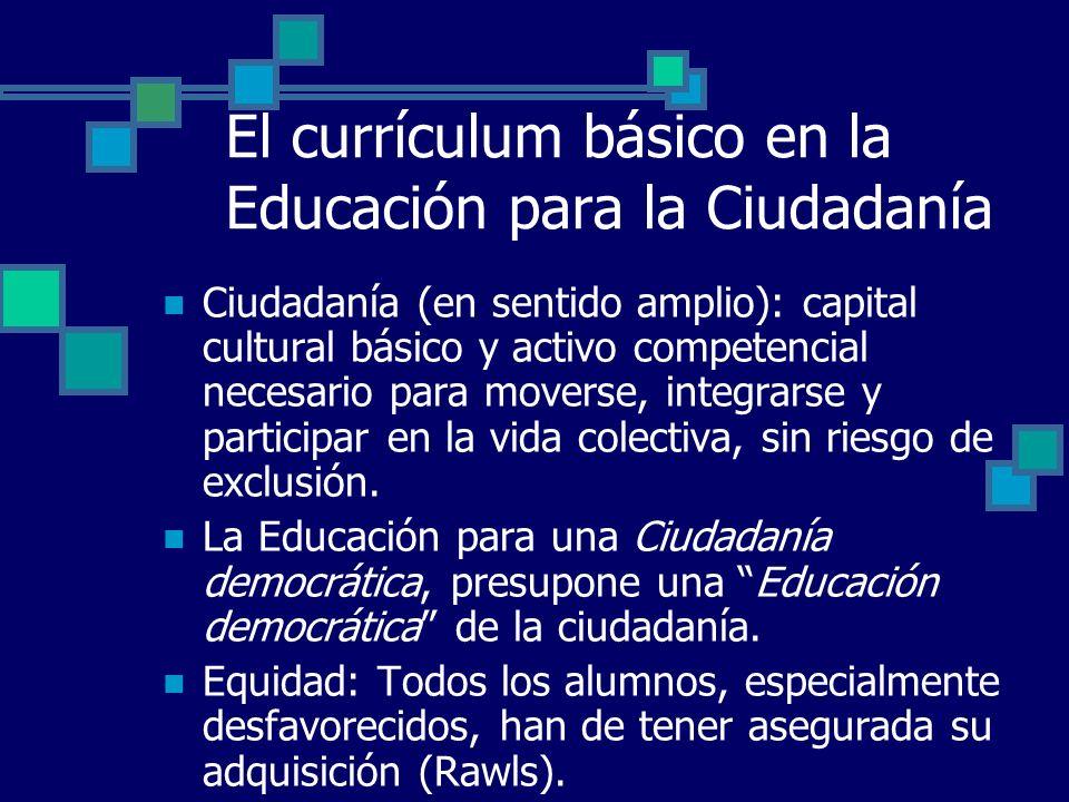 El currículum básico en la Educación para la Ciudadanía