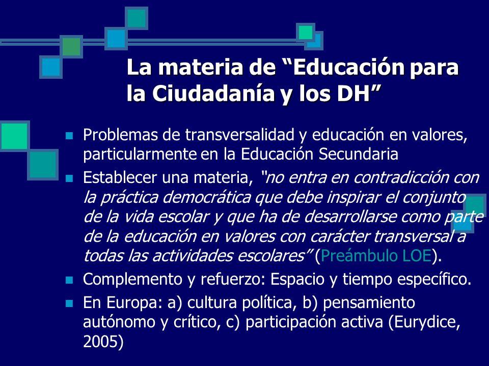 La materia de Educación para la Ciudadanía y los DH