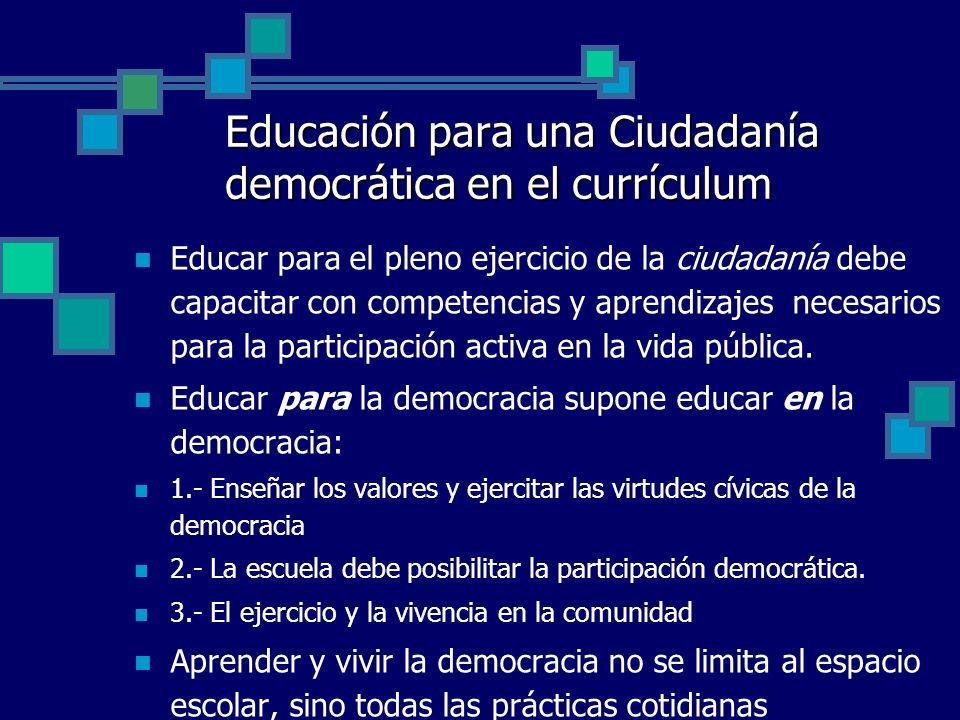 Educación para una Ciudadanía democrática en el currículum