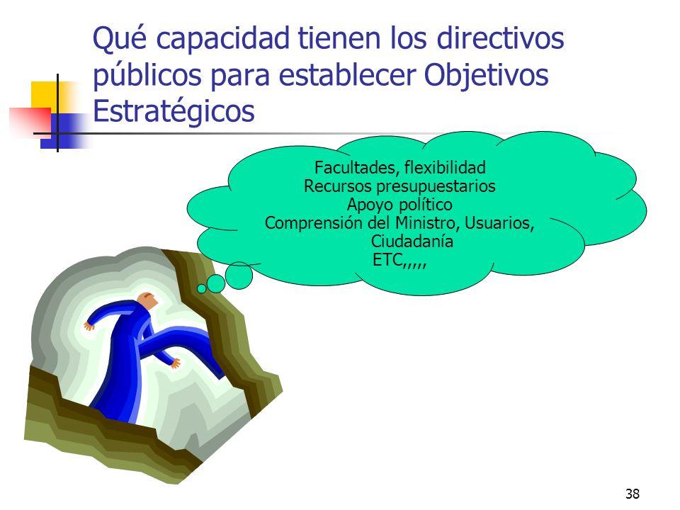 Qué capacidad tienen los directivos públicos para establecer Objetivos Estratégicos
