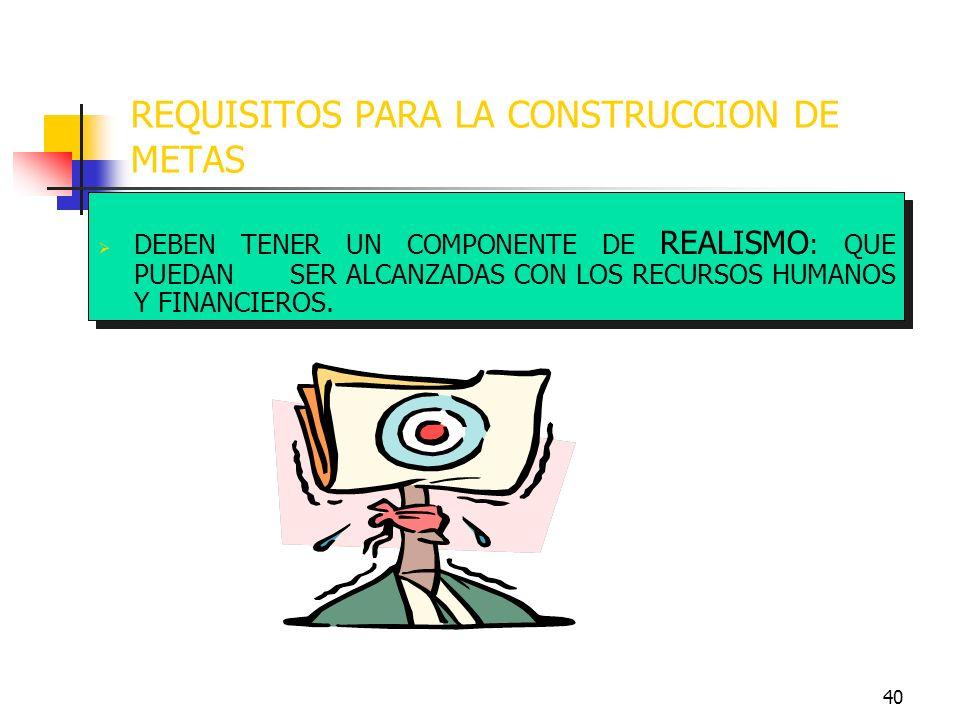 REQUISITOS PARA LA CONSTRUCCION DE METAS