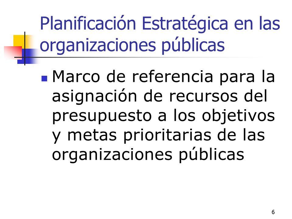 Planificación Estratégica en las organizaciones públicas