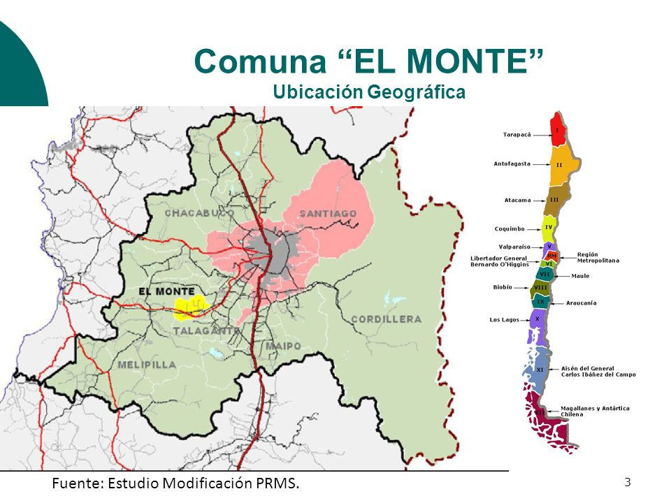 Comuna EL MONTE Ubicación Geográfica