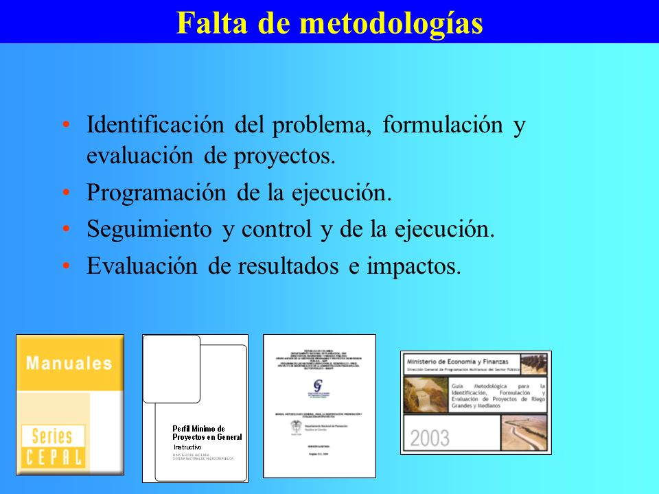 Falta de metodologías Identificación del problema, formulación y evaluación de proyectos. Programación de la ejecución.