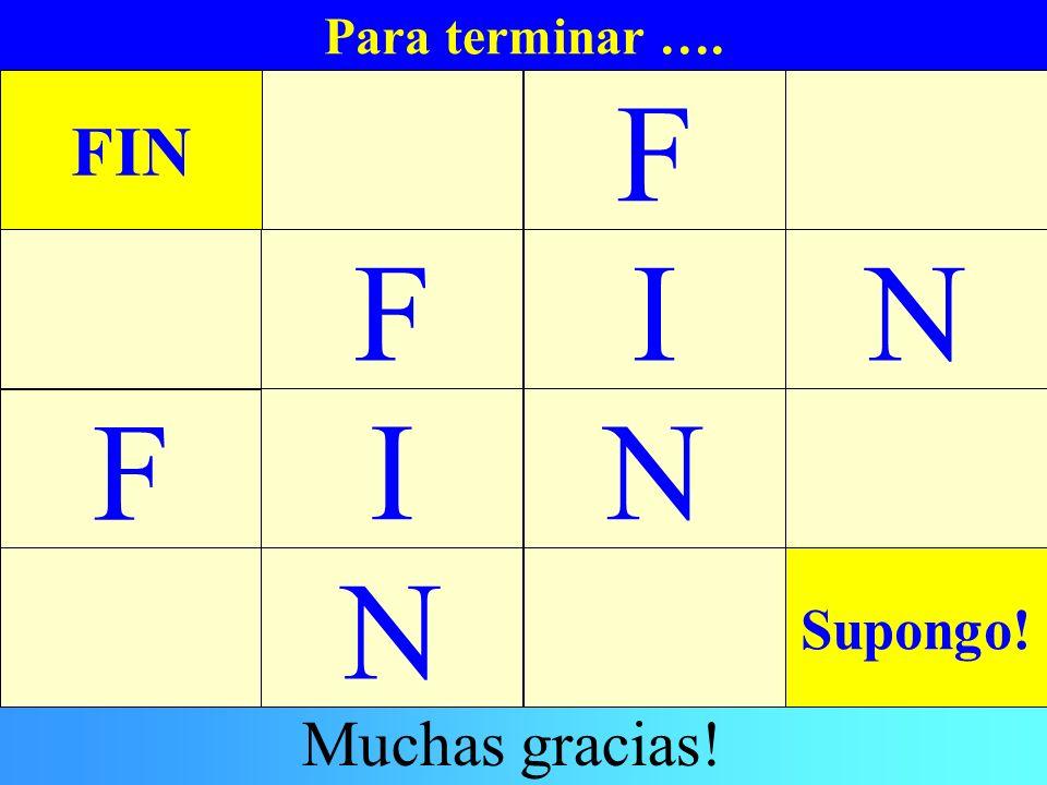F F I N F I N N FIN Muchas gracias! Supongo! Para terminar …. Fin