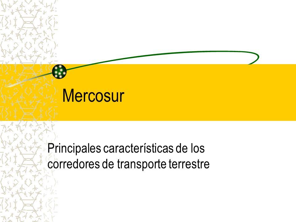 Principales características de los corredores de transporte terrestre