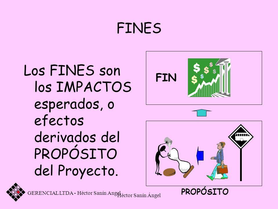 FINES FIN. PROPÓSITO. Los FINES son los IMPACTOS esperados, o efectos derivados del PROPÓSITO del Proyecto.