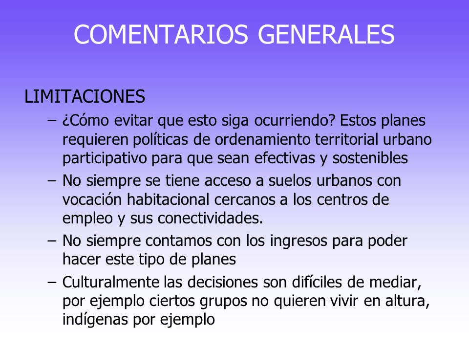 COMENTARIOS GENERALES