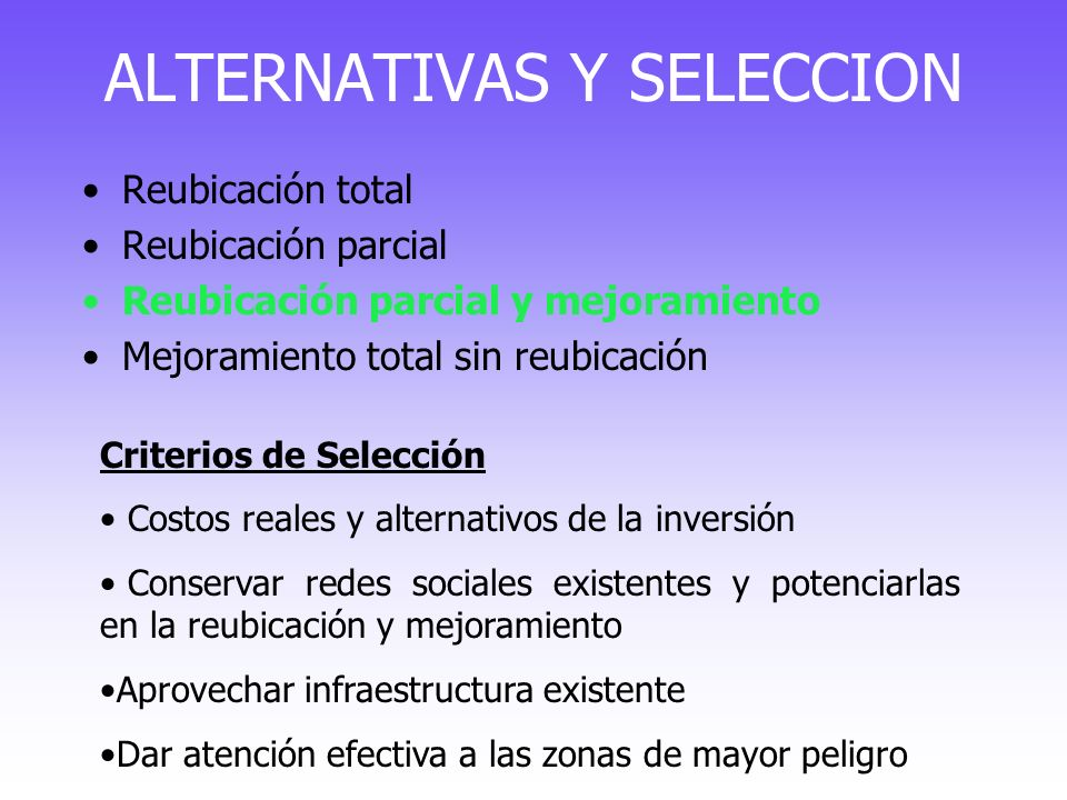 ALTERNATIVAS Y SELECCION