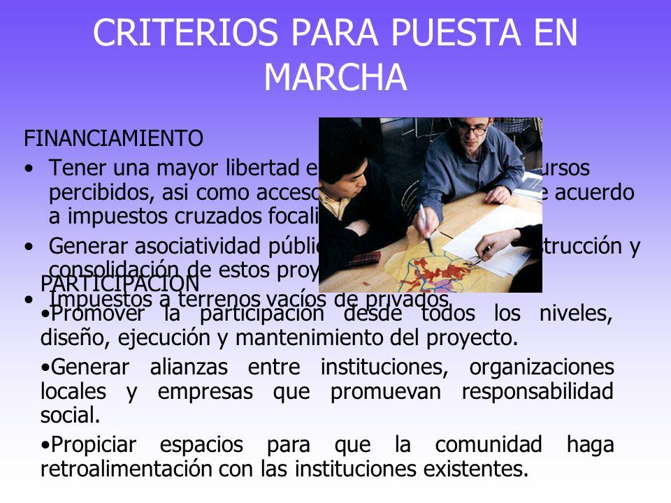 CRITERIOS PARA PUESTA EN MARCHA