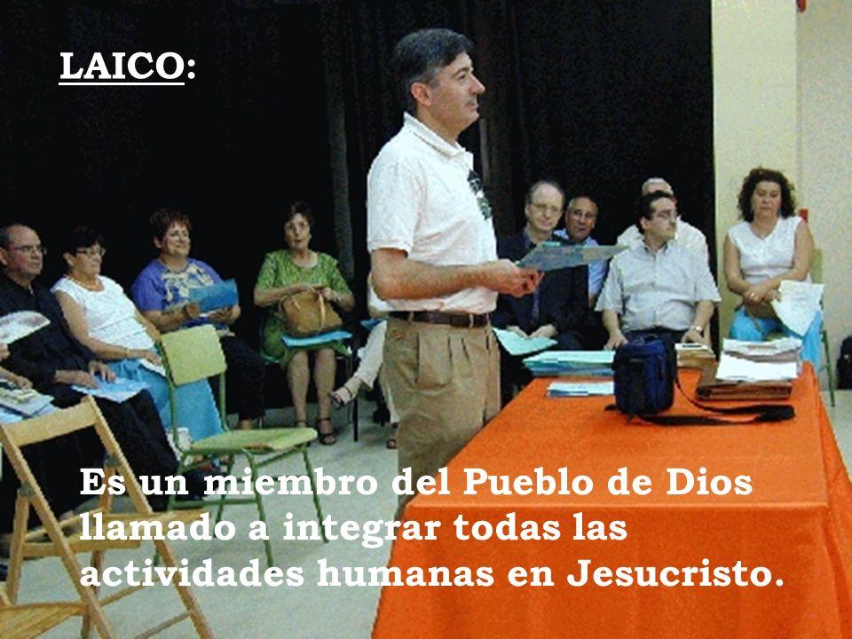 LAICO: Es un miembro del Pueblo de Dios llamado a integrar todas las actividades humanas en Jesucristo.