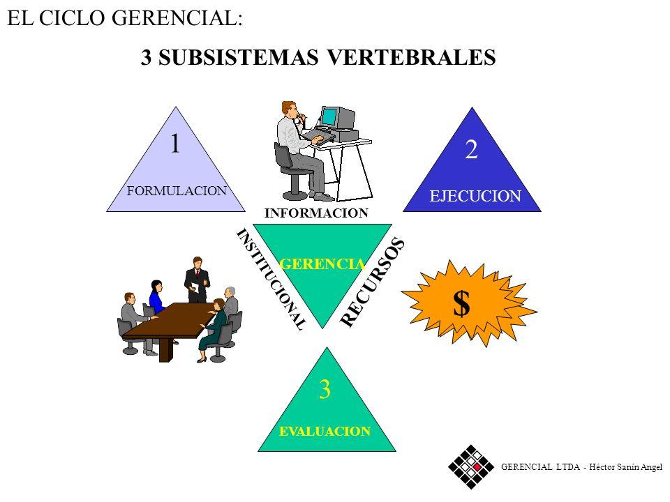 $ 1 2 3 3 SUBSISTEMAS VERTEBRALES PLAN EL CICLO GERENCIAL: RECURSOS