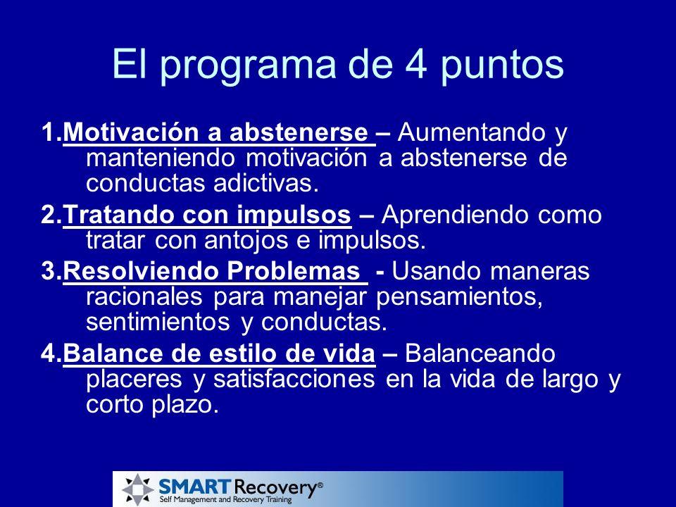 El programa de 4 puntos 1.Motivación a abstenerse – Aumentando y manteniendo motivación a abstenerse de conductas adictivas.
