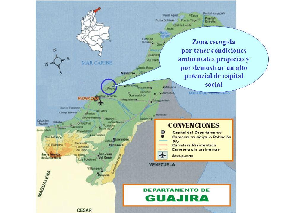 Zona escogidapor tener condiciones ambientales propicias y por demostrar un alto potencial de capital social.