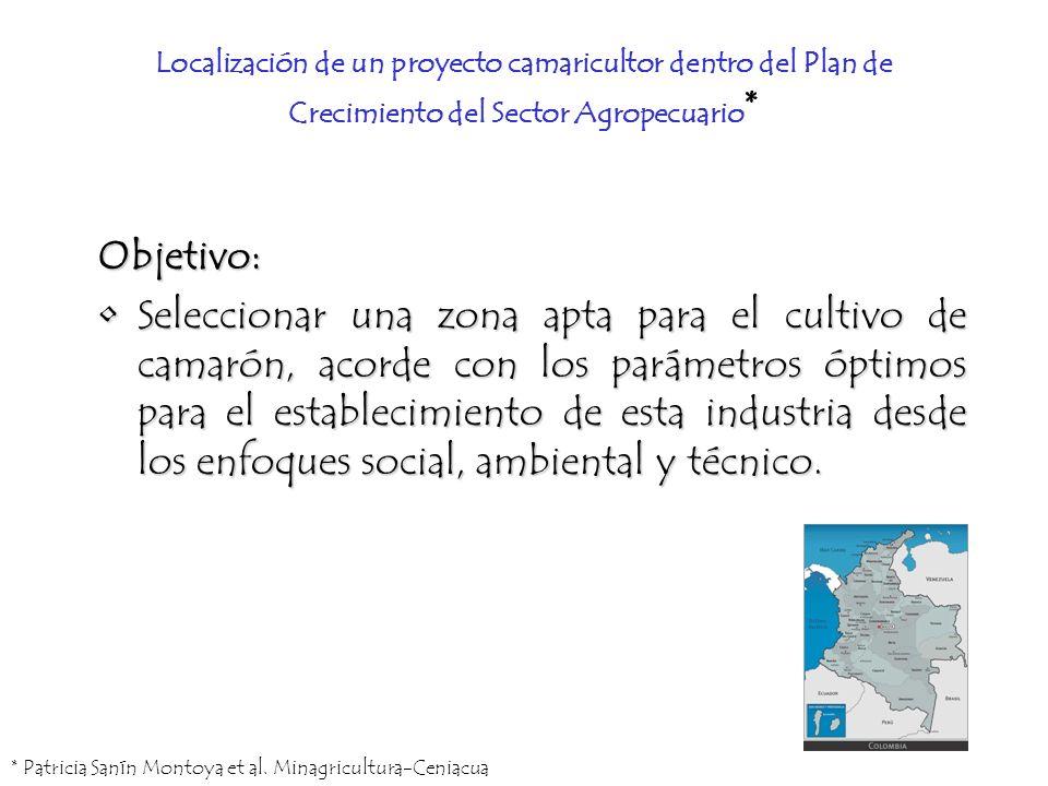 Localización de un proyecto camaricultor dentro del Plan de Crecimiento del Sector Agropecuario*