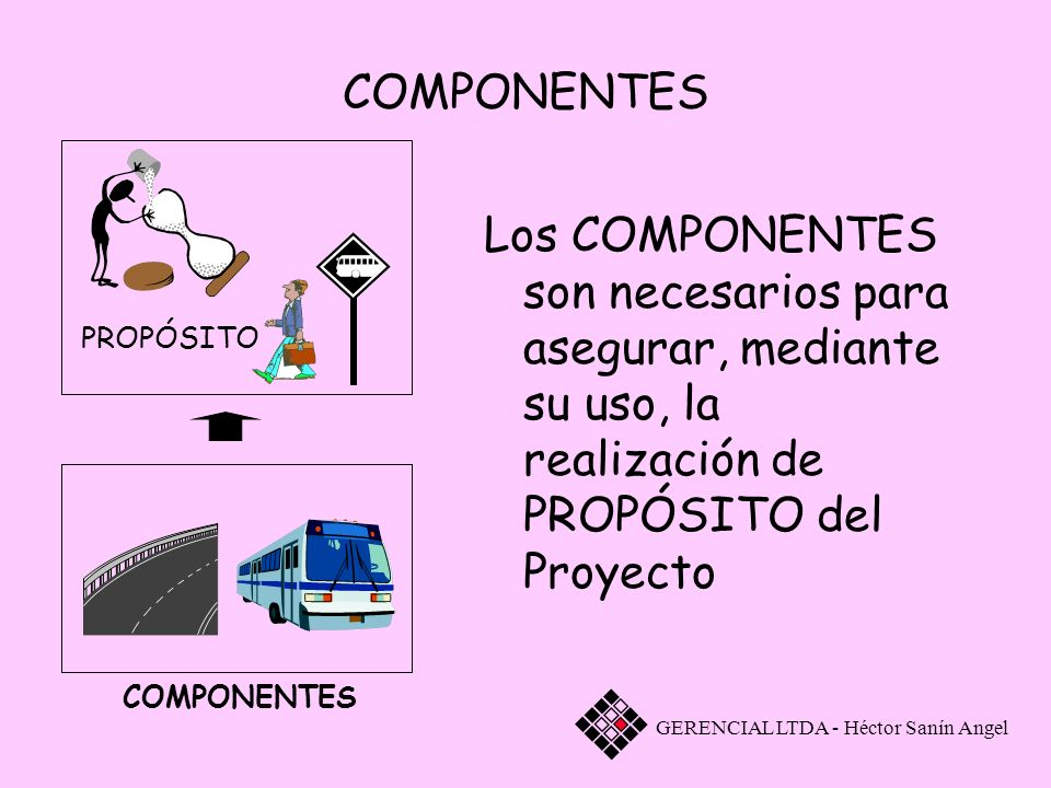 COMPONENTES PROPÓSITO. Los COMPONENTES son necesarios para asegurar, mediante su uso, la realización de PROPÓSITO del Proyecto.