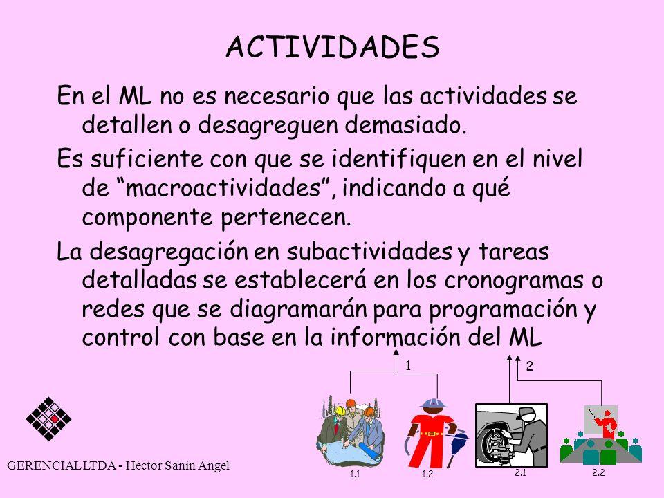 ACTIVIDADES En el ML no es necesario que las actividades se detallen o desagreguen demasiado.