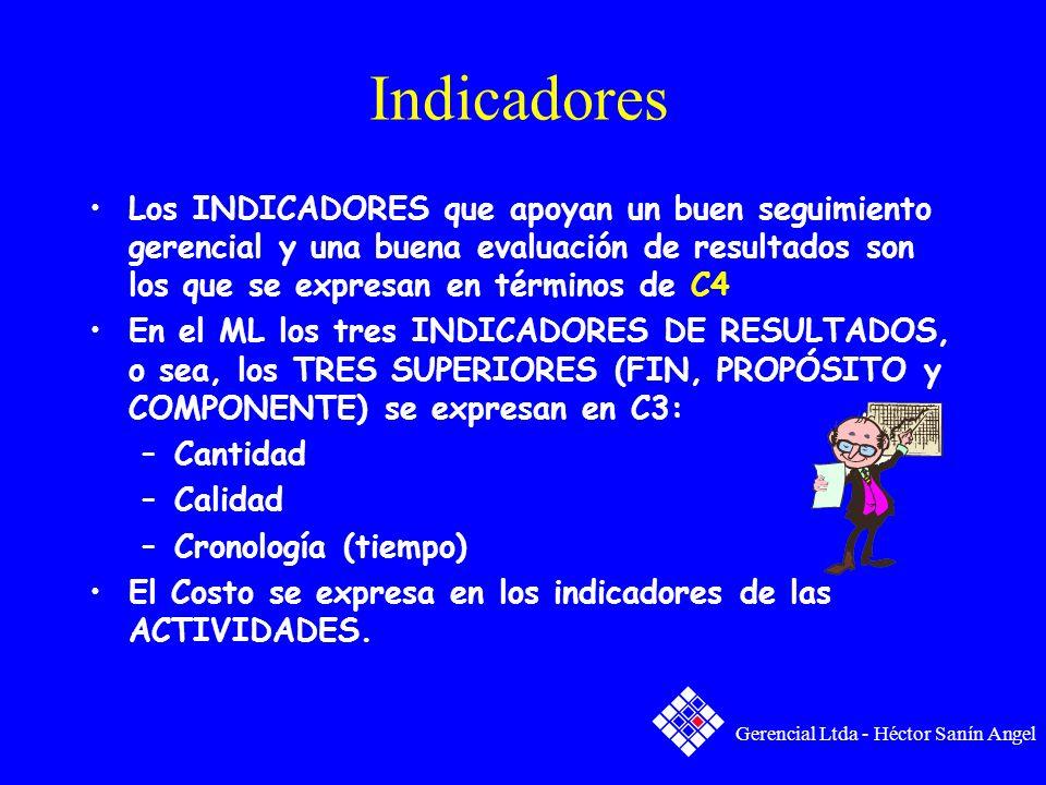 Indicadores Los INDICADORES que apoyan un buen seguimiento gerencial y una buena evaluación de resultados son los que se expresan en términos de C4.