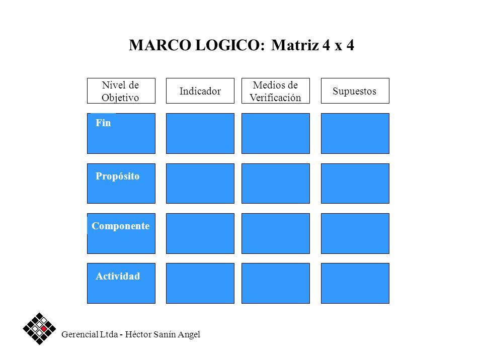 MARCO LOGICO: Matriz 4 x 4 Nivel de Objetivo Indicador Medios de