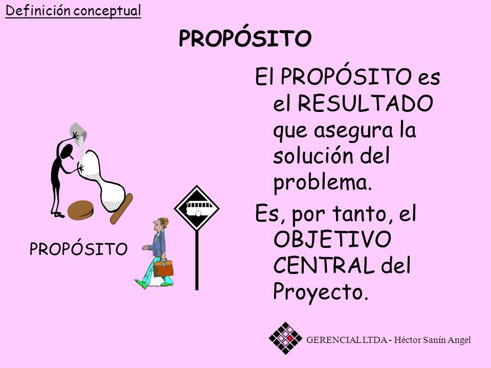 El PROPÓSITO es el RESULTADO que asegura la solución del problema.