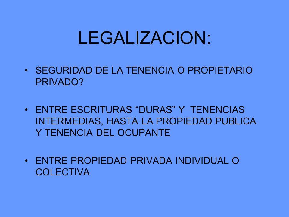 LEGALIZACION: SEGURIDAD DE LA TENENCIA O PROPIETARIO PRIVADO