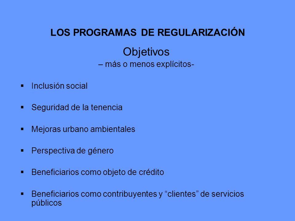 LOS PROGRAMAS DE REGULARIZACIÓN