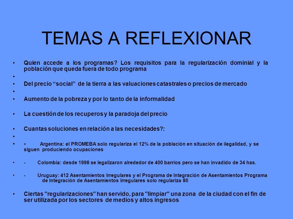 TEMAS A REFLEXIONAR Quien accede a los programas Los requisitos para la regularización dominial y la población que queda fuera de todo programa.