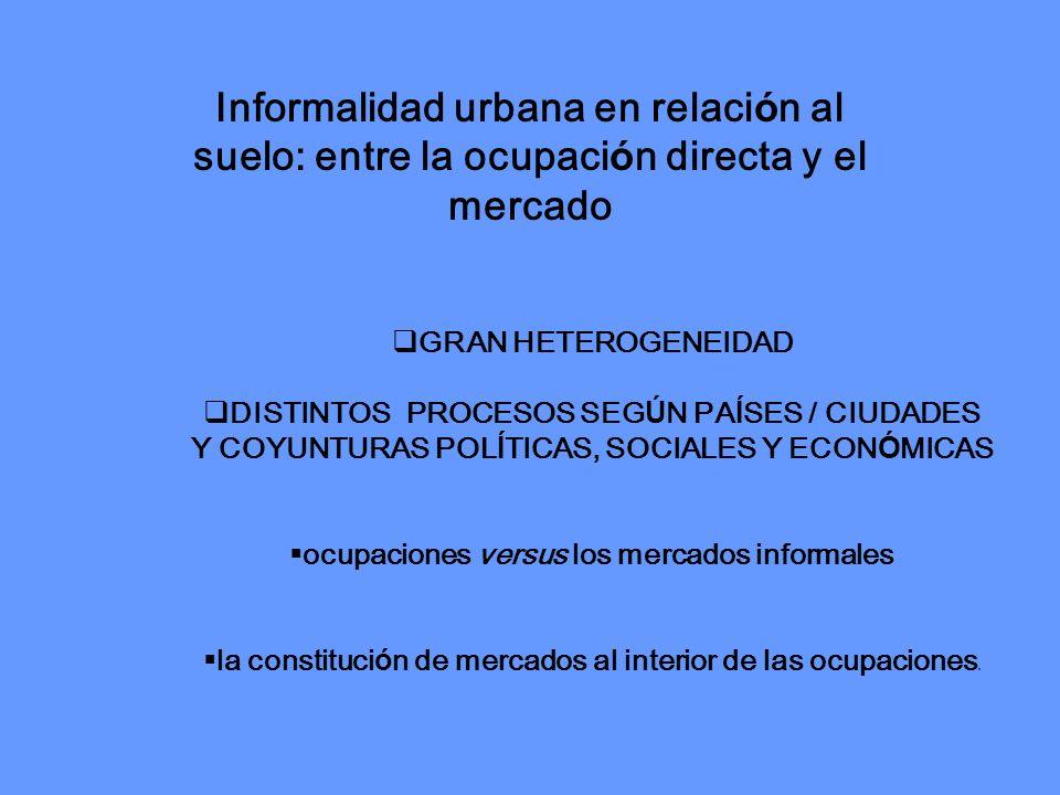 Informalidad urbana en relación al suelo: entre la ocupación directa y el mercado