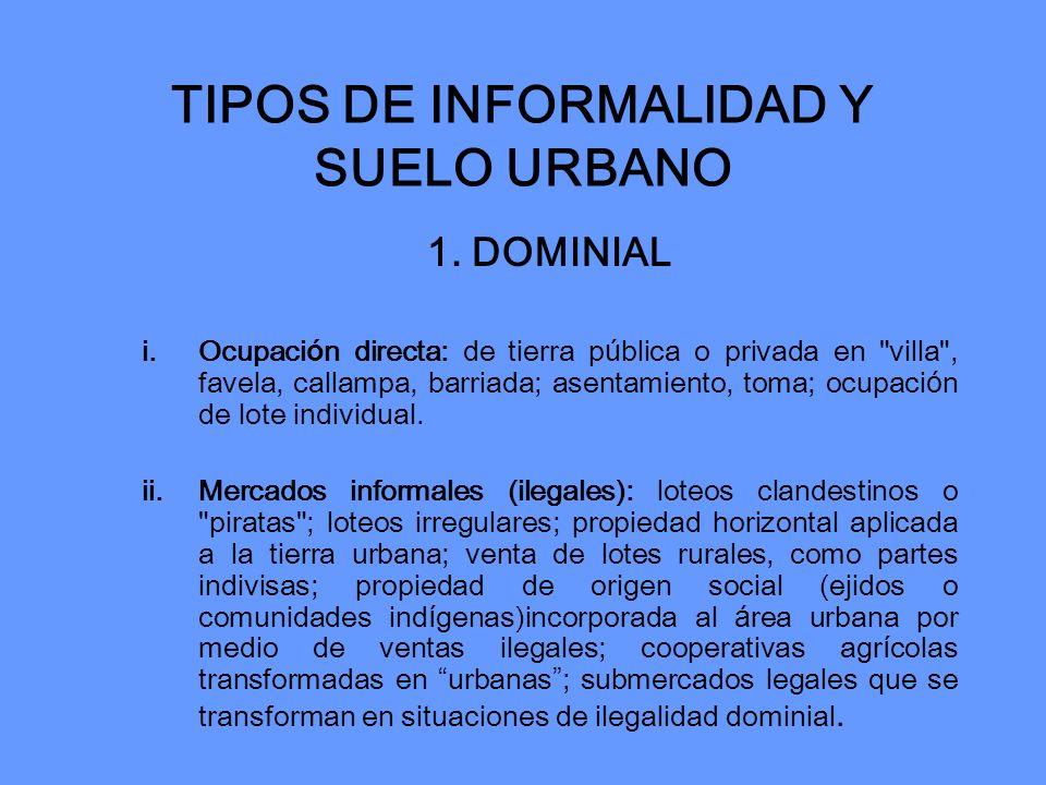 TIPOS DE INFORMALIDAD Y SUELO URBANO