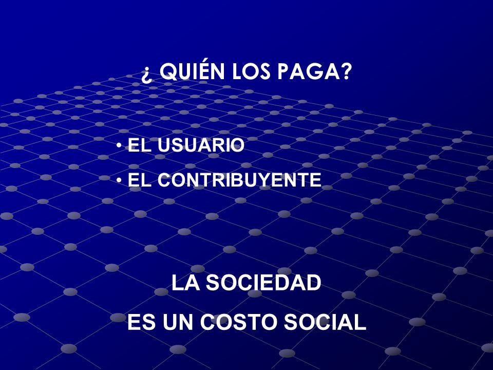 ¿ QUIÉN LOS PAGA LA SOCIEDAD ES UN COSTO SOCIAL EL USUARIO