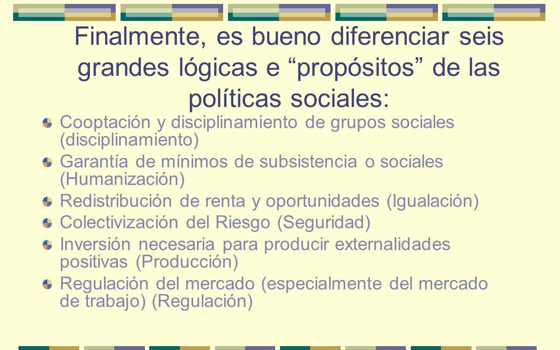 Finalmente, es bueno diferenciar seis grandes lógicas e propósitos de las políticas sociales: