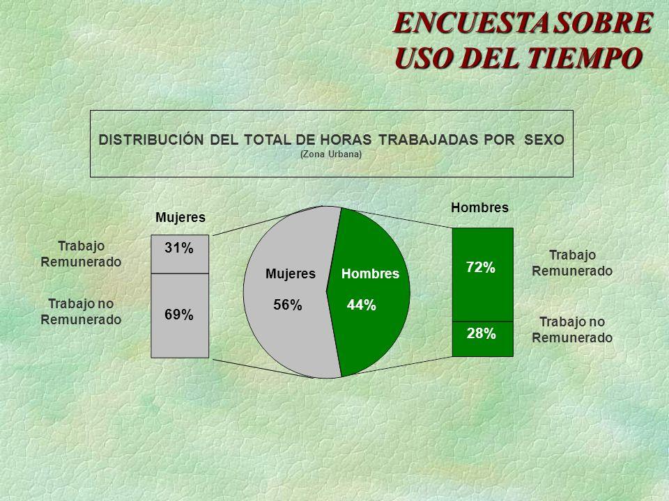 DISTRIBUCIÓN DEL TOTAL DE HORAS TRABAJADAS POR SEXO