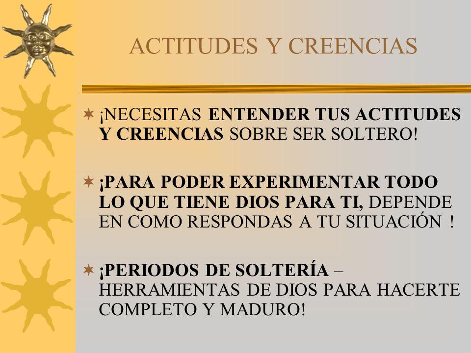 ACTITUDES Y CREENCIAS ¡NECESITAS ENTENDER TUS ACTITUDES Y CREENCIAS SOBRE SER SOLTERO!