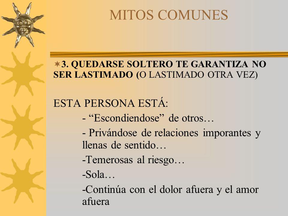MITOS COMUNES ESTA PERSONA ESTÁ: - Escondiendose de otros…