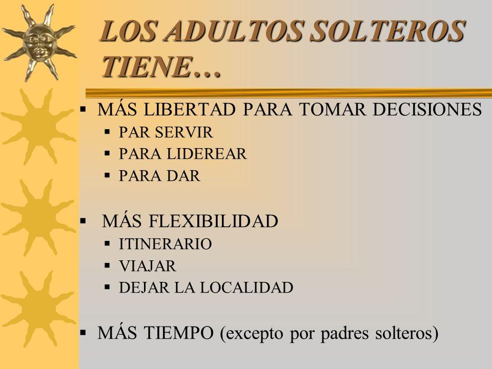 LOS ADULTOS SOLTEROS TIENE…