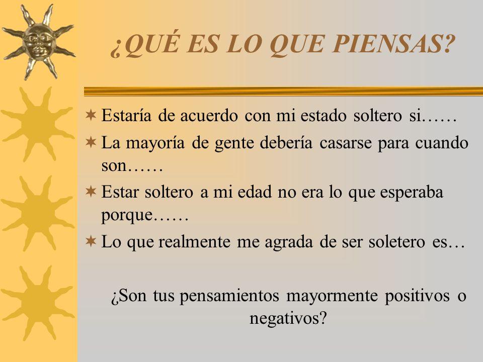 ¿Son tus pensamientos mayormente positivos o negativos