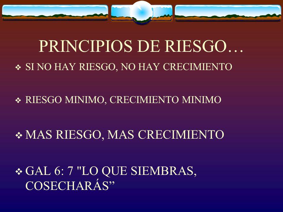 PRINCIPIOS DE RIESGO… MAS RIESGO, MAS CRECIMIENTO