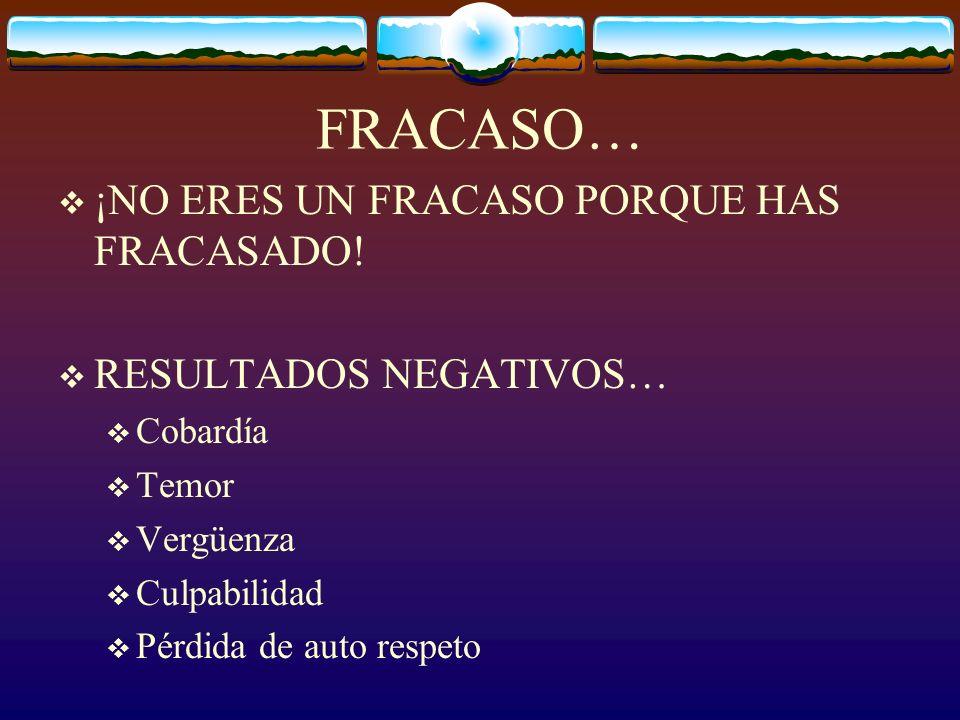 FRACASO… ¡NO ERES UN FRACASO PORQUE HAS FRACASADO!