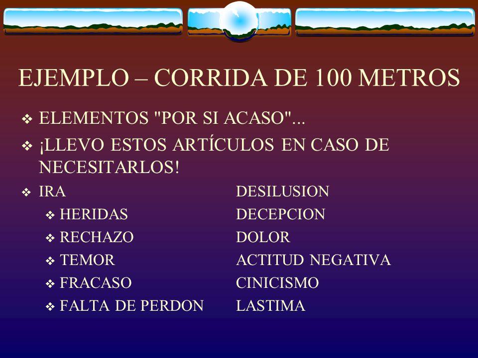 EJEMPLO – CORRIDA DE 100 METROS