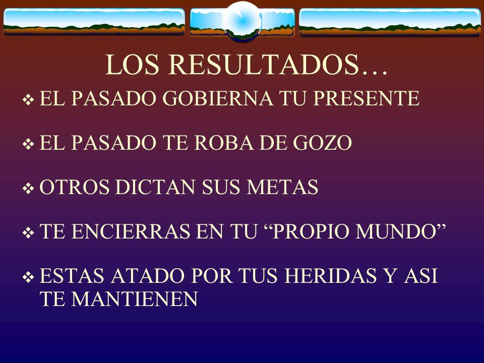 LOS RESULTADOS… EL PASADO GOBIERNA TU PRESENTE